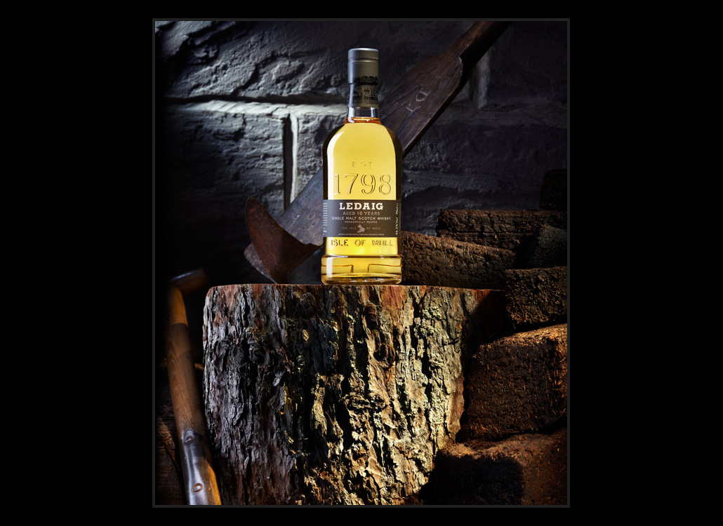 Ledaig single malt bottle photograph
